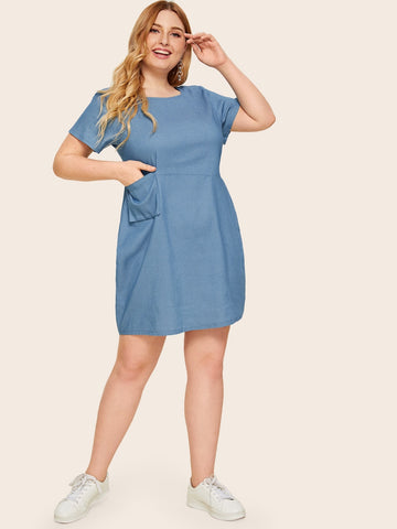 Plus Bleach Wash Pocket Front Denim Dress | Amy's Cart Singapore