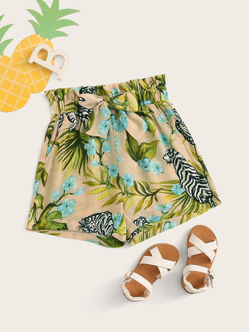 Girls Paperbag Waist Tropical and Tiger Print Shorts | Amy's Cart Singapore
