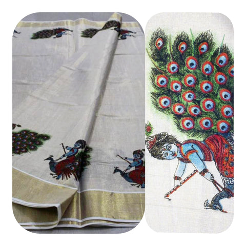 Tissue Silk Kerala Kasavu Saree Krishna on Peacock Print. | Amy's Cart Singapore