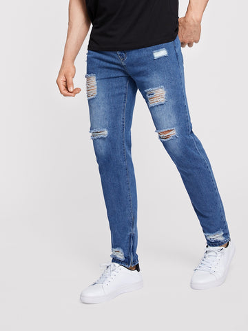 Men Zip Hem Ripped Wash Jeans | Amy's Cart Singapore