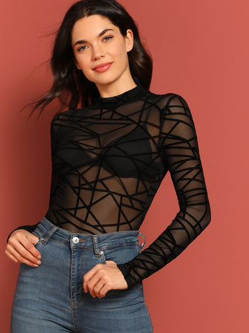 Mock-neck Sheer Mesh Geo Top Without Bra | Amy's Cart Singapore