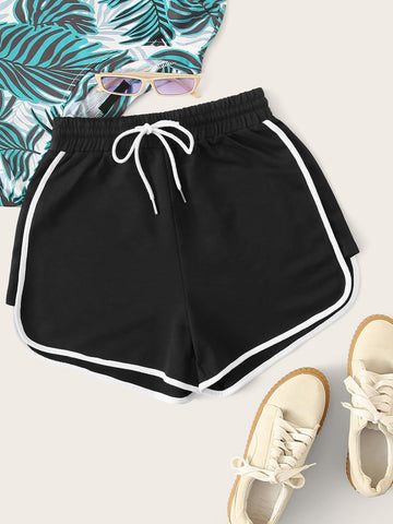 Drawstring Waist Piping Trim Sports Shorts | Amy's Cart Singapore