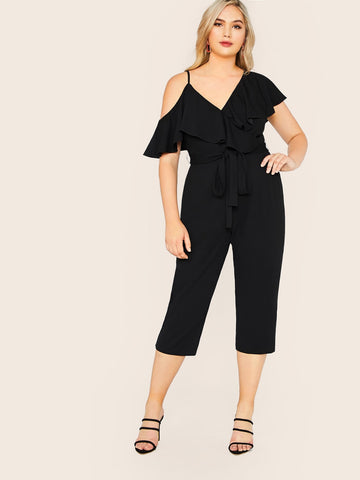 Plus Asymmetrical Neck Ruffle Trim Belted Crop Jumpsuit | Amy's Cart Singapore