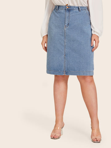 Plus Button Pocket Slim Denim Skirt | Amy's Cart Singapore