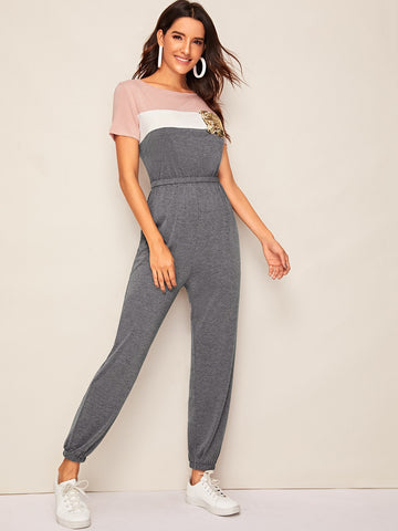Cut And Sew Sequin Pocket Patch Jumpsuit | Amy's Cart Singapore