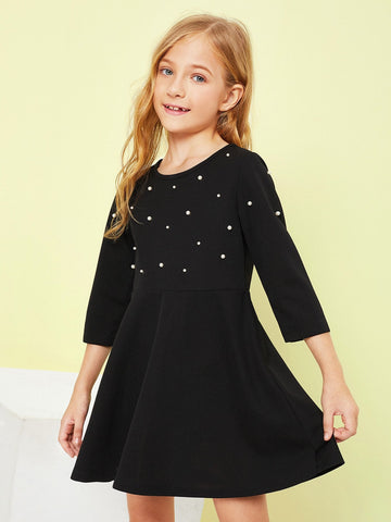 Girls Pearl Beading Flare Dress | Amy's Cart Singapore