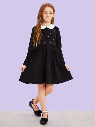 Girls Contrast Collar Pearl Detail Dress | Amy's Cart Singapore