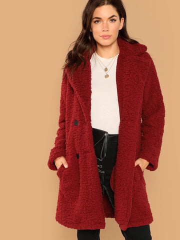 Double Button Teddy Coat | Amy's Cart Singapore