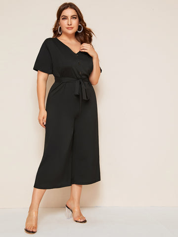 Plus Button Front Belted Wide Leg Jumpsuit | Amy's Cart Singapore
