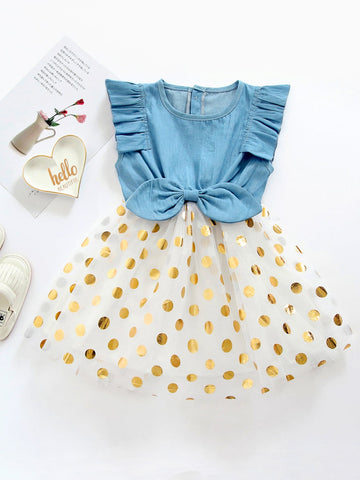 Toddler Girls Polka Dot Bow Front Tutu Dress | Amy's Cart Singapore