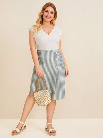 Plus Gingham Button Detail Asymmetrical Skirt | Amy's Cart Singapore