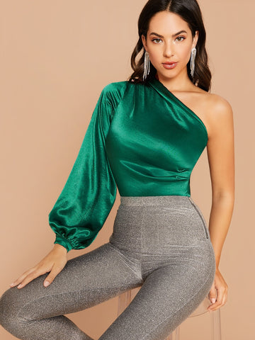 One Shoulder Lantern Sleeve Satin Bodysuit | Amy's Cart Singapore
