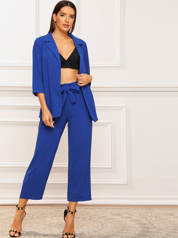 Solid Notched Neck Blazer & Belted Pants | Amy's Cart Singapore