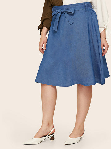 Plus Self Tie Denim Skirt | Amy's Cart Singapore