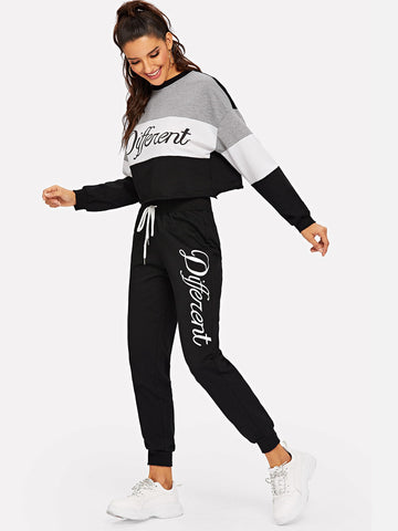 Letter Print Colorblock Pullover and Sweatpants Set | Amy's Cart Singapore