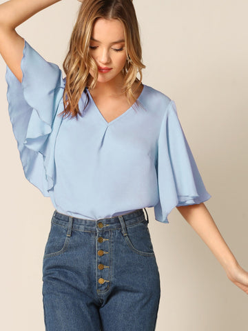 V-neck Flutter Sleeve Solid Top | Amy's Cart Singapore
