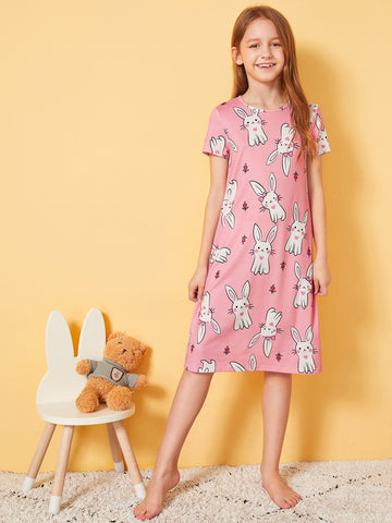 Girls Rabbit Print Nightdress | Amy's Cart Singapore