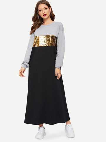 Contrast Sequin Maxi Sweat Dress | Amy's Cart Singapore