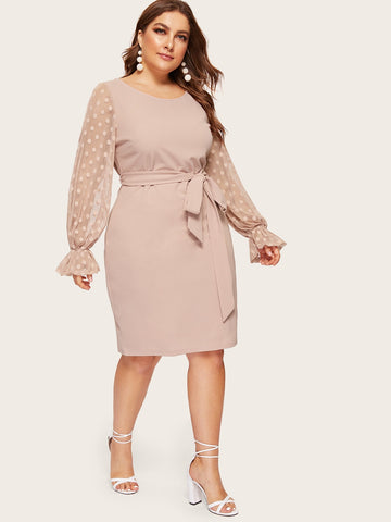 Plus Dot Mesh Bell Sleeve Belted Pencil Dress | Amy's Cart Singapore