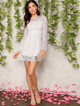 Trumpet Sleeve Floral Lace Overlay Dress | Amy's Cart Singapore