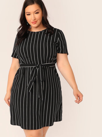 Plus Self Belted Striped Dress | Amy's Cart Singapore