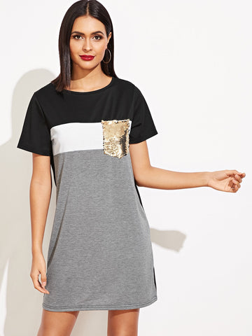 Contrast Sequin Pocket Colorblock Tee Dress | Amy's Cart Singapore
