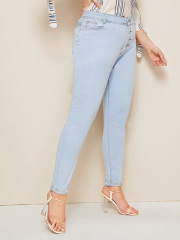 Plus Button Skinny Jeans | Amy's Cart Singapore