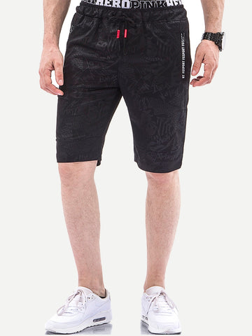 Men Letter Print Drawstring Shorts | Amy's Cart Singapore