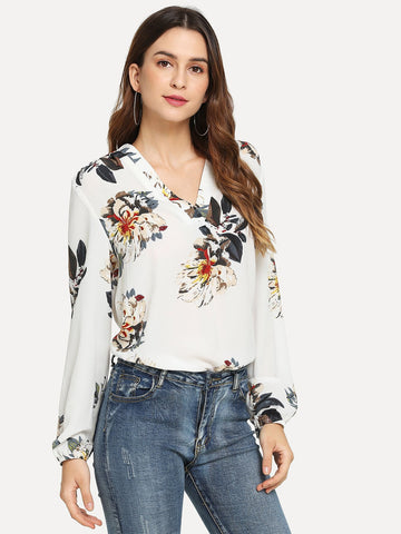 Blouson Sleeve Floral Print Top | Amy's Cart Singapore
