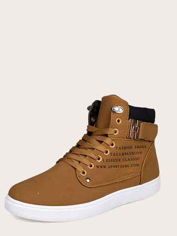Men Slogan Print Lace-up Boots | Amy's Cart Singapore