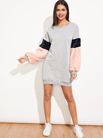 Contrast Faux Shearling Sweatshirt Dress | Amy's Cart Singapore