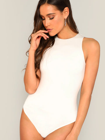 Slim Fitted Solid Bodysuit | Amy's Cart Singapore