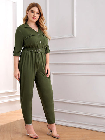 Plus Roll Tab Sleeve Button Pocket Jumpsuit | Amy's Cart Singapore