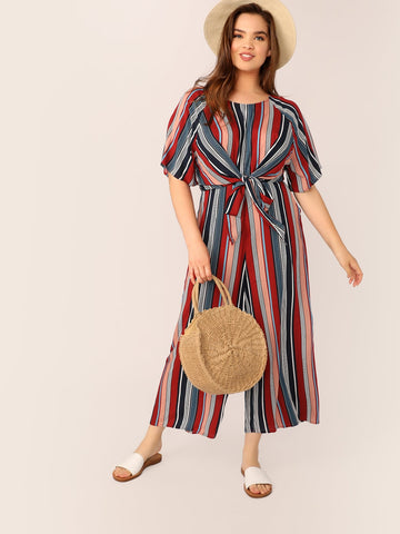 Plus Knot Front Striped Wide Leg Jumpsuit | Amy's Cart Singapore