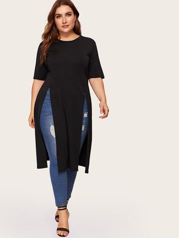 Plus Split Longline Tee | Amy's Cart Singapore