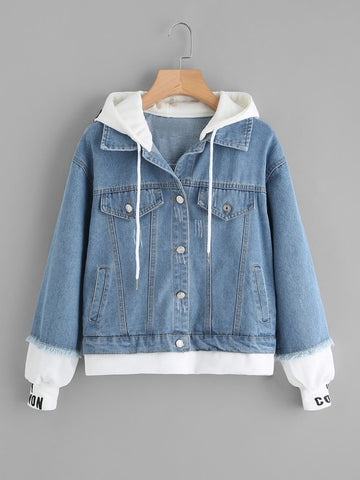 Plus 2 In 1 Hooded Denim Jacket | Amy's Cart Singapore