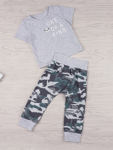 Baby Slogan Print Tee With Camo Pants | Amy's Cart Singapore