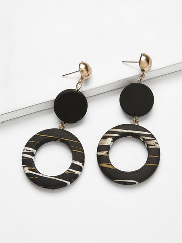 Disc & Ring Design Drop Earrings 1pair | Amy's Cart Singapore