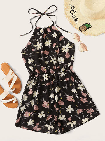 Floral Print Tie Back Romper | Amy's Cart Singapore