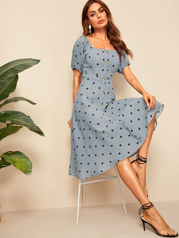 Polka Dot Button Front Square Neck Dress | Amy's Cart Singapore