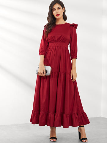 Ruffle Trim Fit & Flare Hijab Dress | Amy's Cart Singapore