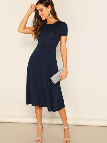 Fit and Flare Solid Dress | Amy's Cart Singapore