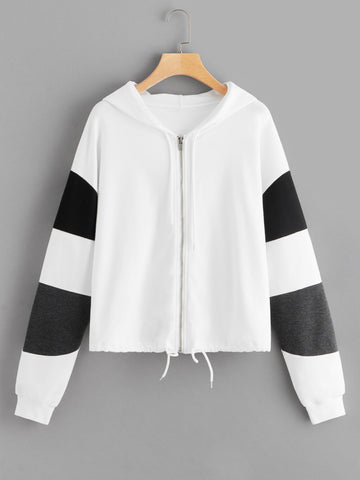 Plus Contrast Panel Zip-Up Hooded Coat | Amy's Cart Singapore
