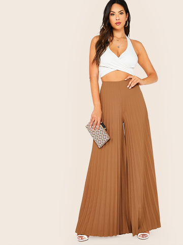 Solid Zip Back Pleated Wide Leg Pants | Amy's Cart Singapore