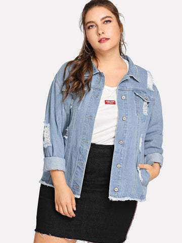Plus Raw Hem Ripped Denim Jacket | Amy's Cart Singapore