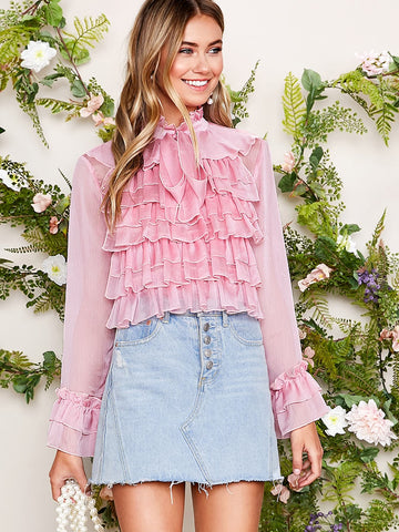 Tie Neck Ruffle Trim Layered Frilled Top | Amy's Cart Singapore