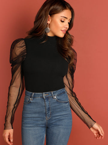 Mesh Puff Sleeve Mock Neck Top | Amy's Cart Singapore