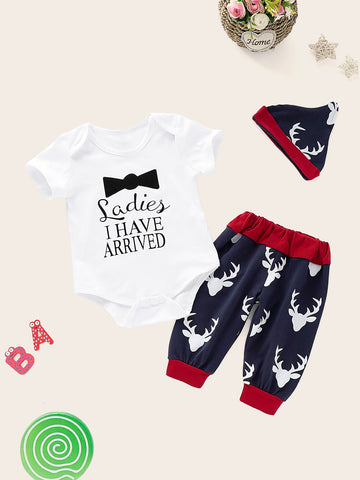 Baby Slogan Print Romper & Deer Print Pants & Hat | Amy's Cart Singapore