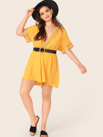 Plus Plunging Neck Guipure Lace Trim Romper | Amy's Cart Singapore