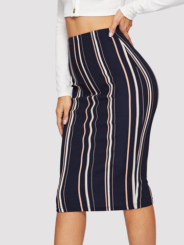 Vertical-stripe Slim Fitted Dress | Amy's Cart Singapore